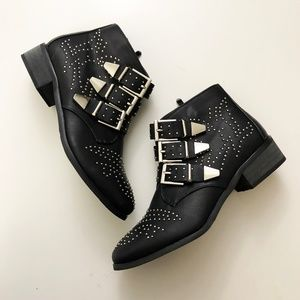 Studded Buckle Ankle Bootie in Black